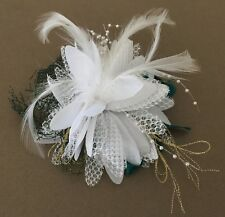 NWOT White, Green & Gold Feather, Tulle & Ribbon Hair Accessory with Hair Comb