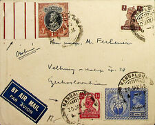 INDIA MANGALORE 1946 KG VI 4V WITH 1Re GUTTER ON COVER TO CZECH