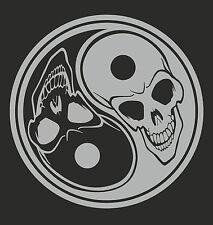 Ying Yang  Skull - Silver - Car,Van,Window,Laptop,Vinyl graphics/sticker/Decal