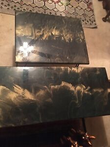 Beautiful!!! Coffee & End Table Black And Gold Marble Look Epoxy One of a Kind