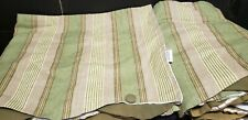 4 Waverly Home Valances Green Tan Stripped Double Scallop Button Accent 78 x 18
