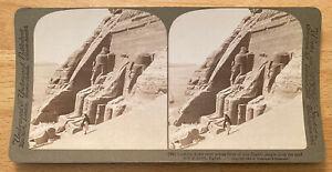 Down River Across Front of Abu Simbel Temple, Egypt – Stereoview Slide – 1904