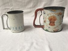 2 Vintage metal tin Androck Hand Sift flour sifter working
