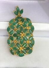 14k Solid Yellow Gold Rectangle Cluster Pendant, Natural Emerald 4.5CT