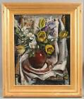 Original MARSTON HODGIN Post-Impressionist Yellow Flowers Still Life Painting <br/> Carved Wood Frame..No Reserve..Possible FREE Delivery!