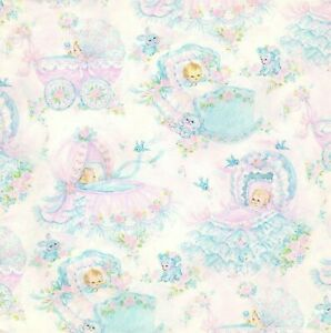 Dollhouse Miniature Nursery Wallpaper Pink and Blue Baby 1:12