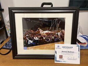 Autographed Dennis Rodman Signed Chicago Bulls 8x10 Framed Photo Dive SSG COA