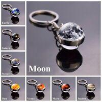 Solar Planet Keyring Galaxy Nebula Space Moon Double Side Glass Ball Keychain