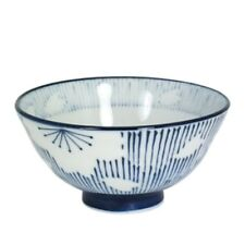 "Japanese Rice Soup Bowl 4.5""D Porcelain Blue Sakura Flower Made in Japan"