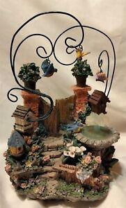 Music Box - Garden Theme, birds, flowers, gate, bird bath - wind up - Excellent