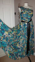 Fenn Wright Manson Blue One Shoulder 100% Silk Stunning Dress Sz 8 RRP £299