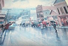 THOMAS KINKADE FRAMED LITHOGRAPH 'A RAINY AFTERNOON ON BROAD STREET' NEVADA CITY