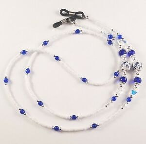 Beaded Eyeglass or Sunglass Chain Holder~Blue and White Flowers~ Crystal