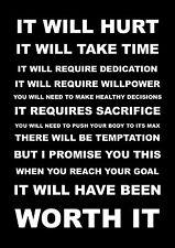 Motivational sports citation signe affiche imprimer ça va faire mal A4 260GSM