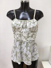 NOUGAT LONDON Green and White Floral Print Cotton Cami Vest Top Blouse Size 2