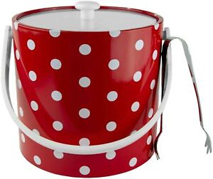 Hand Made In USA Red & White Polka Dot Double Walled 3-Quart Ice Bucket