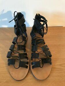 J CREW black leather laceup & back zip Gladiator strappy flat sandals UK 7.5 VGC