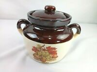 """McCoy Ovenproof Bean Pot #341 Brown & White With Lid 6"""" Tall Made in USA"""
