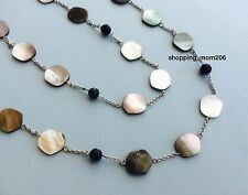 """NEW Lia Sophia """"Night Oasis"""" Silvertone Genuine Mother-of-Pearl Necklace 36-39"""""""