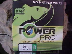 (1) POWER PRO SPECTRA BRAIDED 20lb Test  eq. 6 lb Line  300 YARDS MOSS GREEN