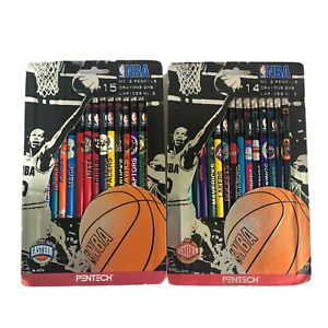 NEW Vintage NBA 1997 Western And Eastern Pencils In Package. Sealed. Made In Usa