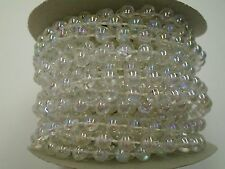 6mm 12 Yard Roll Faux Pearl Beads on a String Craft (Crystal Clear Iridescent)