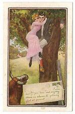 VINTAGE C RYAN SIGNED ROMANTIC POSTCARD COUPLE HIDE IN TREE BULL HORNS ENVELOPE