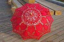 Battenburg Red Love Heart Lace Parasol Umbrella Wedding Bridal 30 Inch