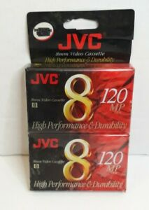 2 (Two) JVC 8 mm, 120mp Video Cassettes, Brand New, Factory Sealed Free Shipping