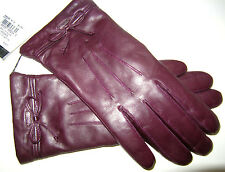 New Coach Ladies Plum Bow Leather Gloves Merino Wool Lined Size 8 NWT $128