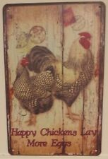 HAPPY CHICKENS Garage Rustic Look Vintage Tin Signs Man Cave, Shed & Bar Sign,
