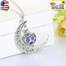 Aromatherapy Essential Oil Locket Silver Moon Heart Perfume Diffuser Necklace