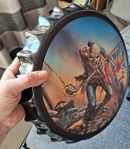 "Iron Maiden TROOPER BEER Bottle Top Tin Display Cap 13"" HUGE Bar Collector NEW"