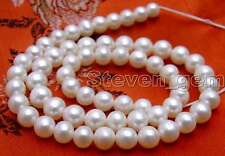 """7-8mm AA Round Natural Loose White Pearl Beads for Jewelry Making DIY Strand 14"""""""