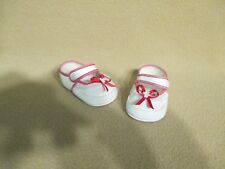 "3-3/8"" WHITE SOFT CRIB SHOES WITH RED LACE TRIMS REBORN OOAK ARTIST BABY DOLLS"