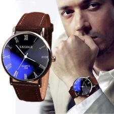 Fashion Luxury 24cm Faux PU Leather Mens Quartz Analog Watch Watches US Seller