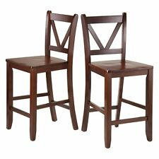 Winsome Victor V-Back 24 in. Counter Height Dining Stools - Set of 2