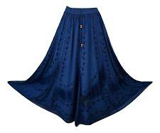 Boho Maxi Medieval Skirt Embroidered Rayon Navy High Quality  8 10 12 14 16 18
