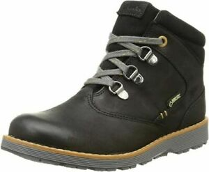 BNIB Clarks Boys Day Hi Black Leather Gore Tex Warm Lined Ankle Boots