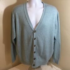 LL L.L. Bean Cardigan Sweater Lambswool Blend Light Blue Long Sleeve Free Ship