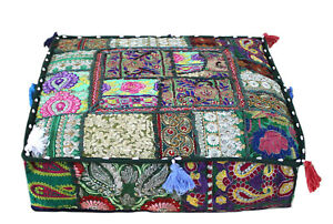 """22"""" Indian Handmade Square Patchwork Home Decorative Floor Cushion Cover Green"""