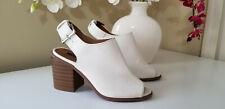Forever 21 Women's White Buckled Peep-Toe Chunky Heel  Mule Sandals  Sz.5,5M
