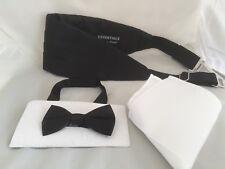 <NEW>BOYS-Page Boy-Children BLACK Polyester Bow tie+Cummerbund & White Hanky Set
