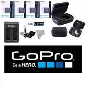 Batteries for GoPro Hero4 SILVER BLACK 4X AHDBT 401+ CHARGER + HARD CASE + BONUS