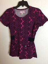 cd163961b4d Women's Koi (Kathy Peterson) Scrubs Top Size XS Navy Blue & Fuchsia Print