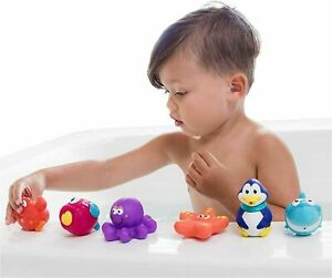 Nuby 10-Pack Little Squirts Fun Bath Toys, Assorted Characters NEW SEALED