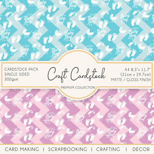 Baby Boy/Girl Scrapbooking Card Making Patterned A4 300gsm Crafting Cardstock
