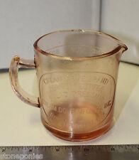 Pink Measuring Cup Cream Dove Co. Binghamton, NY Retro Depression Style Glass