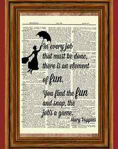 Mary Poppins Dictionary Art Picture Poster Julie Andrews Umbrella Fun Quote