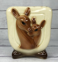 "Vintage Royal Copley Mother Deer Fawn Vase Planter Succulent 6 1/2"" Collectible"